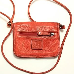 Fossil genuine leather orange small cross over bag